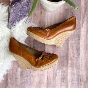 Steve Madden Reverse brown leather wedge heels